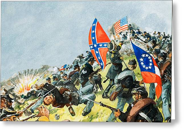 The Battlefield At Gettysburg Greeting Card by Leo Davy