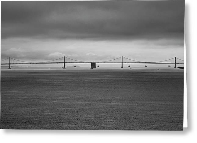 The Bay Bridge B/w Greeting Card by Wes Jimerson