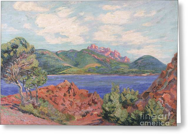 Guillaumin; Jean Baptiste Armand (1841-1927) Greeting Cards - The Bay of Agay Greeting Card by Jean Baptiste Armand Guillaumin