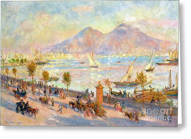 Sailboats In Water Greeting Cards - The Bay of Naples with Vesuvius in the Background Greeting Card by Pierre Auguste Renoir