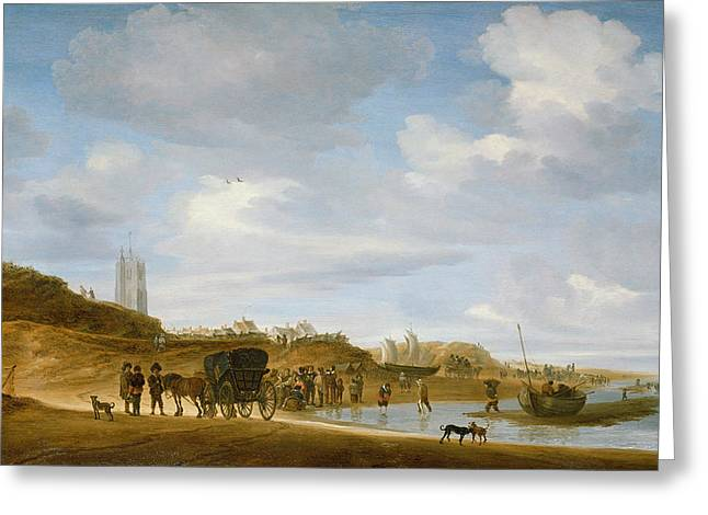 Boats At The Dock Paintings Greeting Cards - The Beach at Egmond an Zee Greeting Card by Salomon van Ruysdael