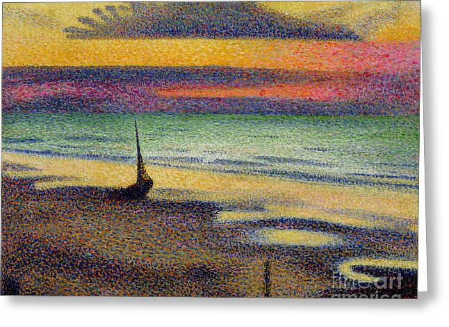 Impressionist Greeting Cards - The Beach at Heist Greeting Card by Georges Lemmen