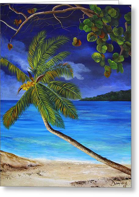 Cuban Painter Greeting Cards - The Beach at Night Greeting Card by Dominica Alcantara