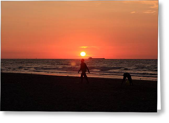 Sunset Prints Greeting Cards - The Beach At Sunset Greeting Card by Aidan Moran