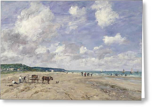 Boudin Greeting Cards - The Beach at Tourgeville Greeting Card by Eugene Louis Boudin