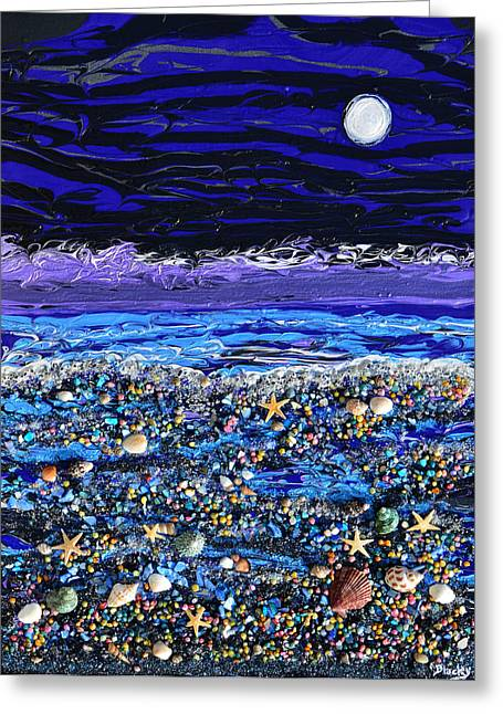 Seashore Mixed Media Greeting Cards - The Beach By Moonlight Greeting Card by Donna Blackhall