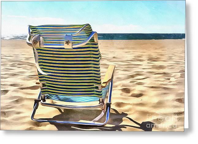 The Beach Chair 2 Greeting Card by Edward Fielding
