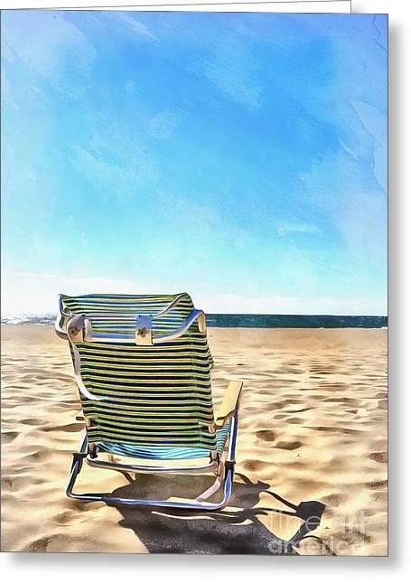 The Beach Chair Greeting Card by Edward Fielding