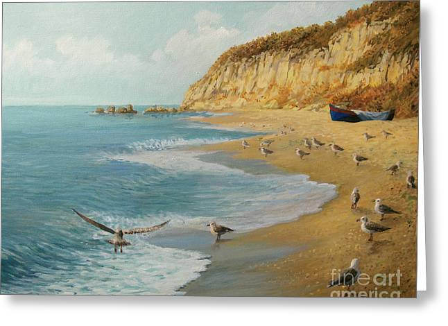 Bulgaria Paintings Greeting Cards - The Beach Greeting Card by Kiril Stanchev
