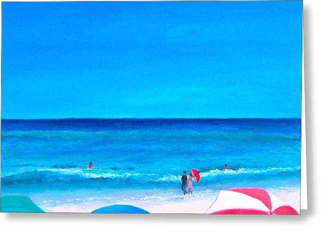 Summer Scene Greeting Cards - The Beach Umbrellas Greeting Card by Jan Matson