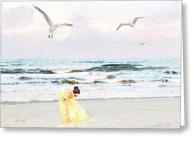 Ethereal Beach Scene Greeting Cards - The Beachcomber Greeting Card by Kimberly Potts