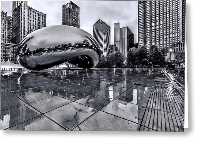 The Bean Greeting Cards - The Bean Black and White 02 Greeting Card by Josh Bryant