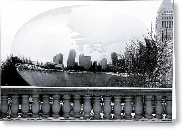 The Bean Greeting Cards - The Bean Snowglobe Greeting Card by Gwen Allen