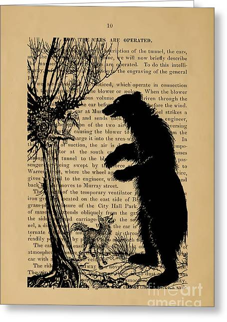 The Bear And The Fox Greeting Card by Flash28photography
