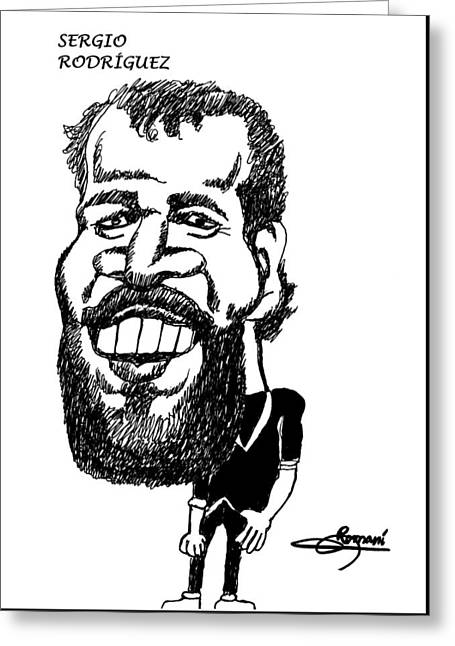 The Beard Sergio Rodriguez Greeting Card by Miguel Romani