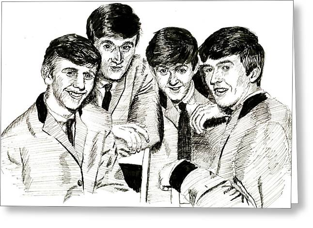 Starkey Greeting Cards - The Beatles 1963 Greeting Card by Ron Enderland