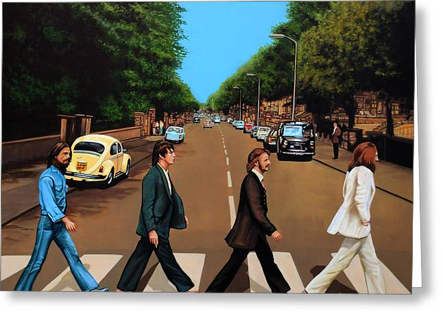Rock And Roll Paintings Greeting Cards - The Beatles Abbey Road Greeting Card by Paul Meijering