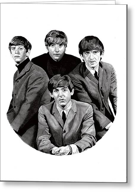 Cavern Drawings Greeting Cards - The Beatles Greeting Card by Dave Irving