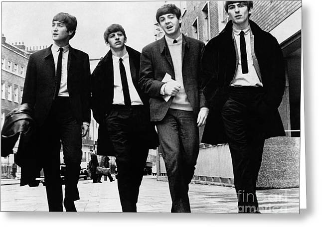 Man Photographs Greeting Cards - The Beatles Greeting Card by Granger
