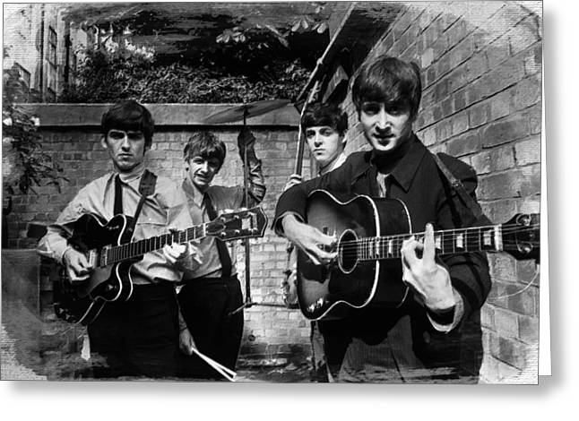 British Celebrities Greeting Cards - The Beatles In London 1963 Black And White Painting Greeting Card by Tony Rubino