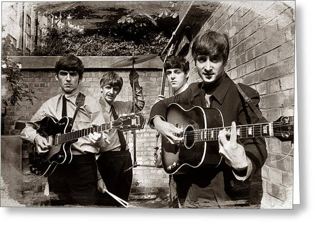Full Body Paintings Greeting Cards - The Beatles In London 1963 Sepia Painting Greeting Card by Tony Rubino
