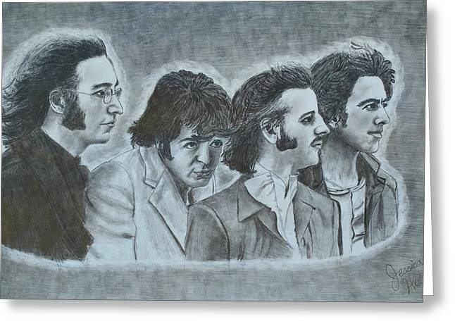 Mccartney Drawings Greeting Cards - The Beatles  Greeting Card by Jessica Hallberg