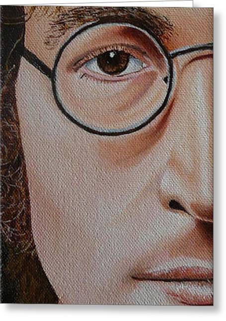 The Beatles John Lennon Greeting Card by Vic Ritchey