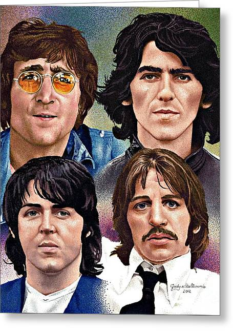 Ringo Starr Drawings Greeting Cards - The Beatles Greeting Card by Judy Skaltsounis