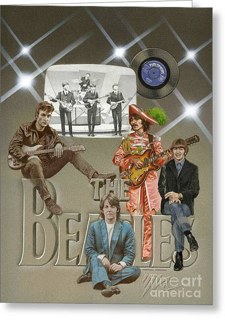 Rocks Drawings Greeting Cards - The Beatles Greeting Card by Marshall Robinson