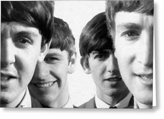 British Celebrities Greeting Cards - The Beatles Painting 1963 Black And White Greeting Card by Tony Rubino