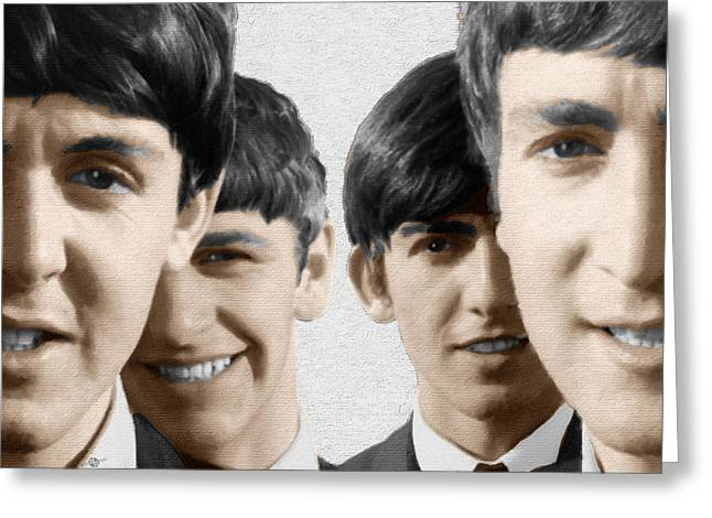 British Celebrities Greeting Cards - The Beatles Painting 1963 Color Greeting Card by Tony Rubino