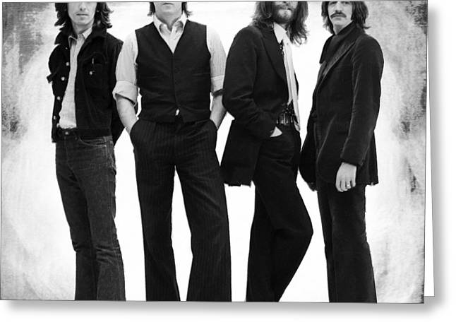 Full Body Paintings Greeting Cards - The Beatles Painting Late 1960s Early 1970s Black And White Greeting Card by Tony Rubino