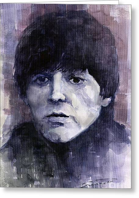 Beatles Paintings Greeting Cards - The Beatles Paul McCartney Greeting Card by Yuriy  Shevchuk