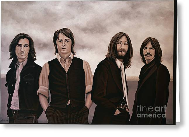Rock And Roll Paintings Greeting Cards - The Beatles Greeting Card by Paul Meijering