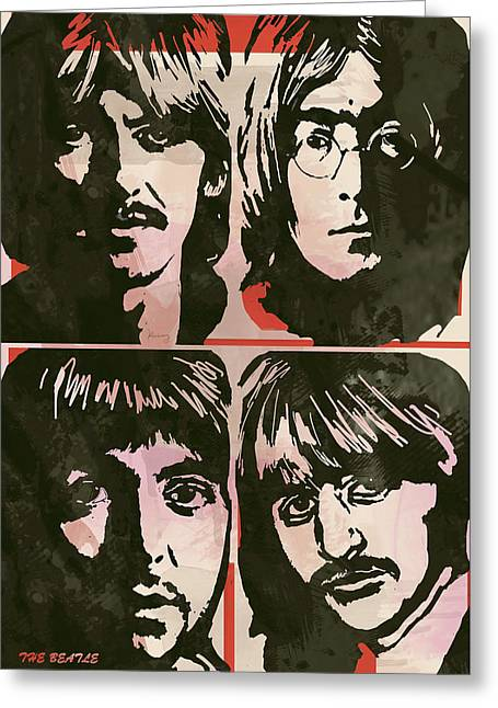 The Beatles Pop Stylised Art Sketch Poster Greeting Card by Kim Wang