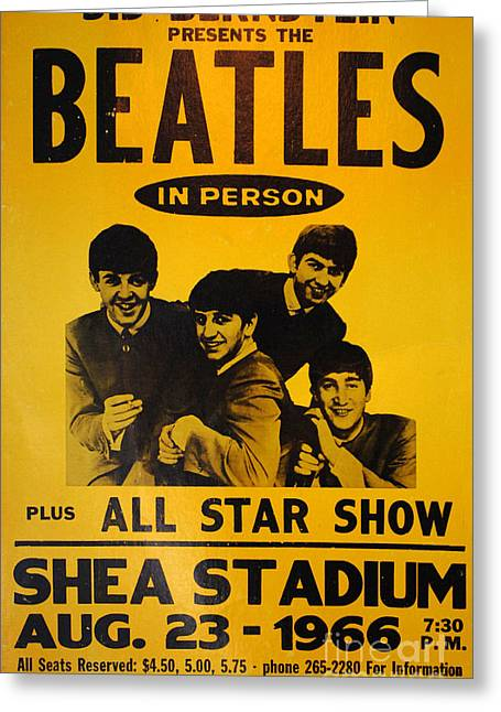 Shea Stadium Greeting Cards - The Beatles Poster Collection 7 Greeting Card by Bob Christopher
