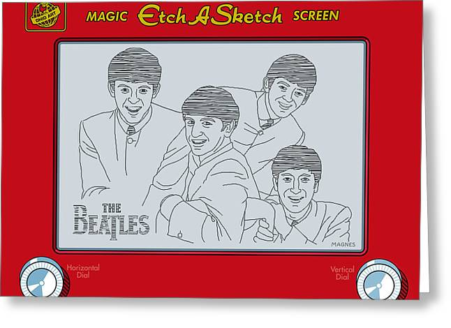Sixties Music Greeting Cards - The Beatles Greeting Card by Ron Magnes