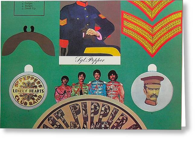 Sgt Pepper Photographs Greeting Cards - The Beatles Sgt Pepper Album Cover Greeting Card by Spencer McKain
