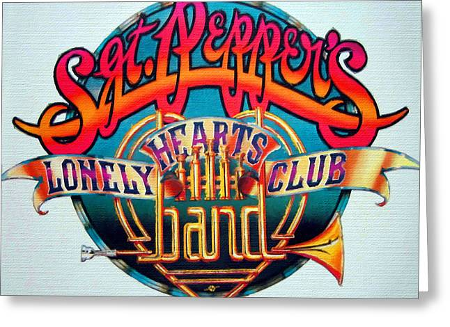 Lonely Hearts Club Band Greeting Cards - The Beatles Sgt. Peppers Lonely Hearts Club Band Logo Painting 1967 Color Greeting Card by Tony Rubino