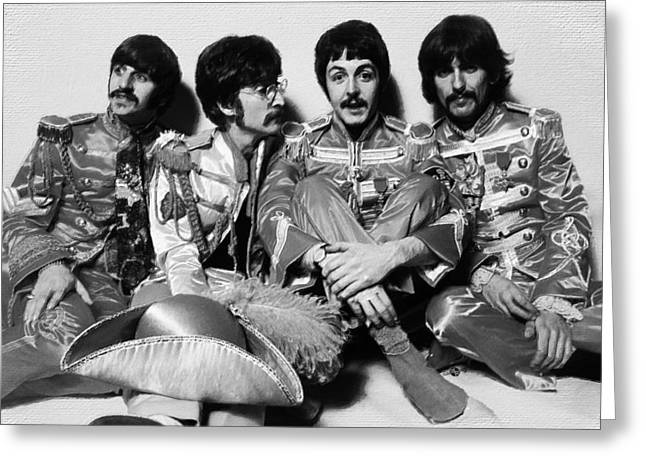 British Celebrities Greeting Cards - The Beatles Sgt. Peppers Lonely Hearts Club Band Painting 1967 Black And White Greeting Card by Tony Rubino