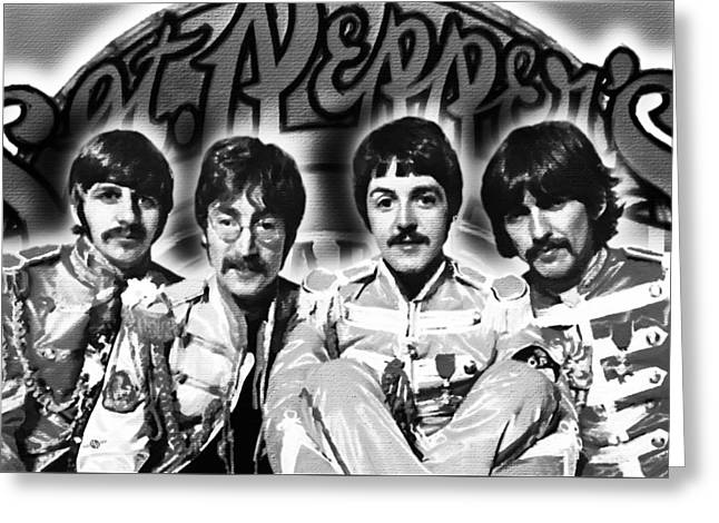 Lonely Hearts Club Band Greeting Cards - The Beatles Sgt. Peppers Lonely Hearts Club Band Painting And Logo 1967 Black And White Greeting Card by Tony Rubino