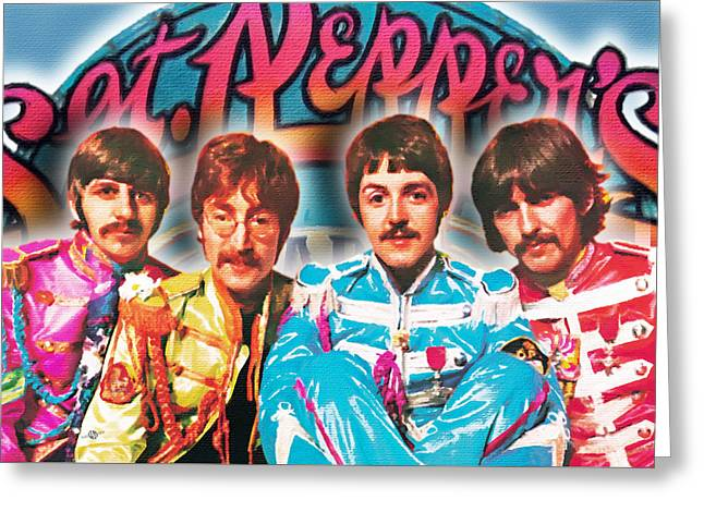 Lonely Hearts Club Band Greeting Cards - The Beatles Sgt. Peppers Lonely Hearts Club Band Painting And Logo 1967 Color Greeting Card by Tony Rubino