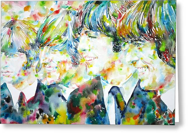 Ringo Starr Greeting Cards - THE BEATLES - watercolor portrait.2 Greeting Card by Fabrizio Cassetta