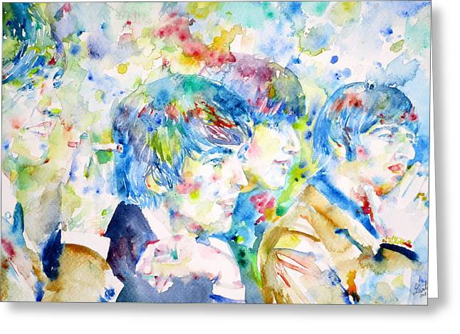 Ringo Starr Greeting Cards - THE BEATLES - watercolor portrait.4 Greeting Card by Fabrizio Cassetta