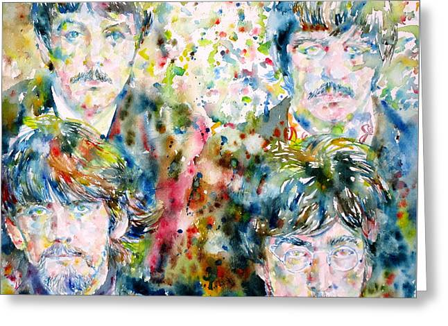 Ringo Starr Greeting Cards - THE BEATLES - watercolor portrait.5 Greeting Card by Fabrizio Cassetta