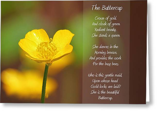 Petal Mixed Media Greeting Cards - The Beautiful Buttercup Poem Greeting Card by Tracie Kaska