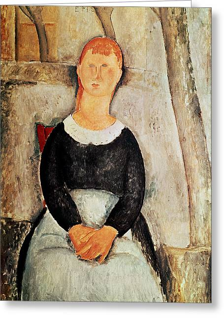 Modigliani; Amedeo (1884-1920) Greeting Cards - The Beautiful Grocer Greeting Card by Amedeo Modigliani