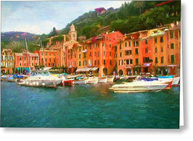 The Beautiful Harbor Of Portofino Greeting Card by Mitchell R Grosky