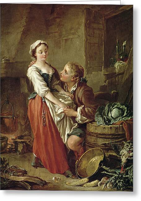 Boucher; Francois (1703-70) Greeting Cards - The Beautiful Kitchen Maid Greeting Card by Francois Boucher