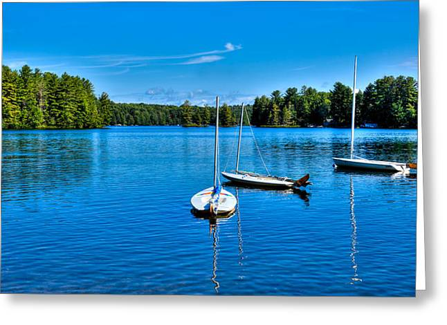 Boats In Water Greeting Cards - The Beautiful White Lake in New York Greeting Card by David Patterson